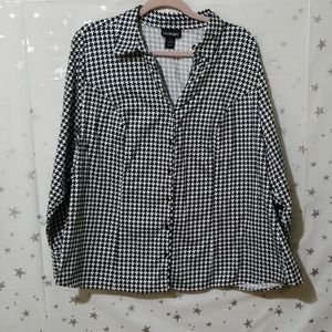 Lane Bryant Houndstooth Long Sleeve Top Size 22